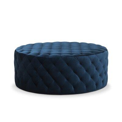 Darcella Round Ottoman Upholstery: Blue Petrol Velvet