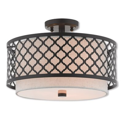 Tymvou Semi Flush Mount Size: 10.75 H x 18.13 W, Color: Bronze