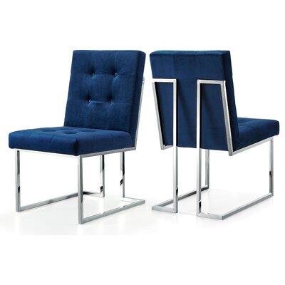 Hartford Velvet Side Chair Upholstery: Navy