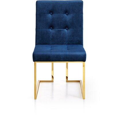 Robey Velvet Parsons Chair Upholstery: Navy