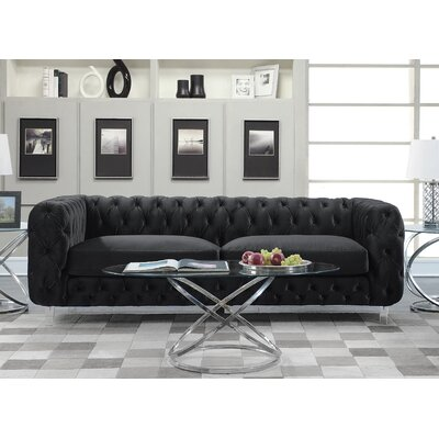 Bourn Chesterfield Sofa Upholstery: Black