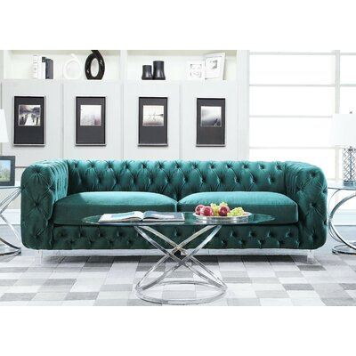 Bourn Chesterfield Sofa Upholstery: Green
