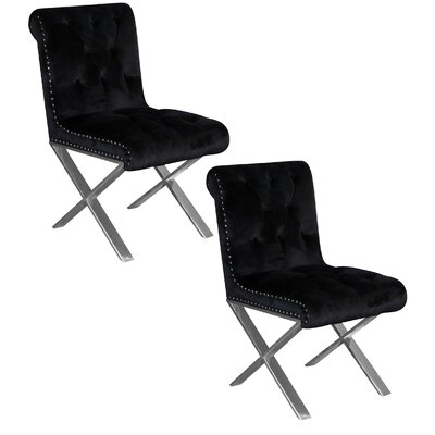 Anglin Side Chair Upholstery Color: Black, Leg Color: Silver