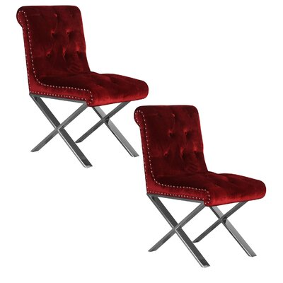 Anglin Side Chair Upholstery Color: Burgundy, Leg Color: Silver