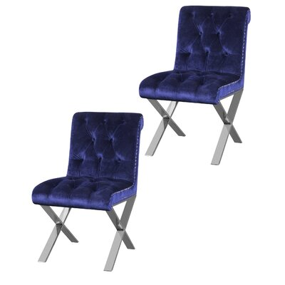 Anglin Side Chair Upholstery Color: Navy, Leg Color: Silver