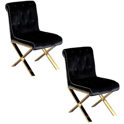 Anglin Side Chair Upholstery Color: Black, Leg Color: Gold
