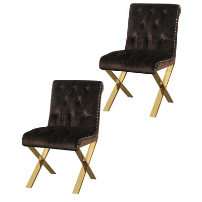 Anglin Side Chair Upholstery Color: Chocolate, Leg Color: Gold