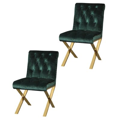 Anglin Side Chair Upholstery Color: Green, Leg Color: Gold