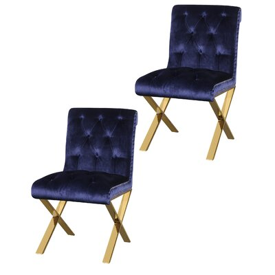Anglin Side Chair Upholstery Color: Navy, Leg Color: Gold