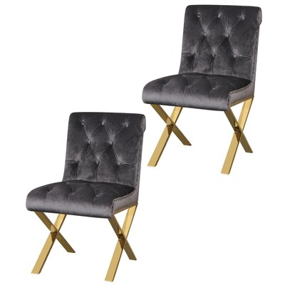 Anglin Side Chair Upholstery Color: Silver, Leg Color: Gold