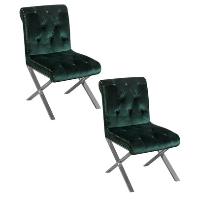 Anglin Side Chair Upholstery Color: Green, Leg Color: Silver
