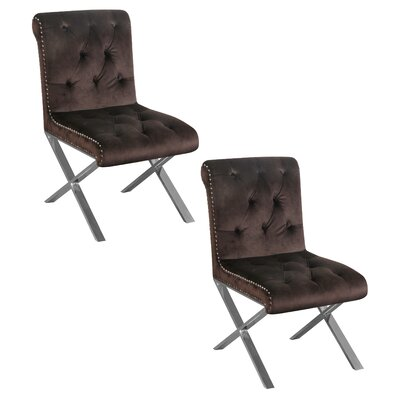 Anglin Side Chair Upholstery Color: Chocolate, Leg Color: Silver