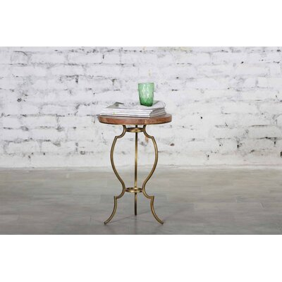 Rea Iron Wooden Top End Table