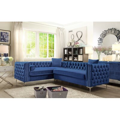 Alsafi Sectional Upholstery: Navy, Orientation: Right Hand Facing