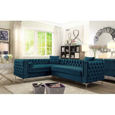Alsafi Elegant Modern Deeply Tufted Sectional Orientation: Right Hand Facing, Upholstery: Teal