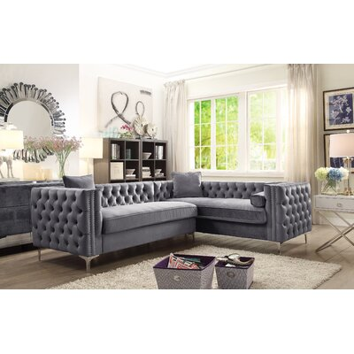 Alsafi Elegant Modern Deeply Tufted Sectional Orientation: Left Hand Facing, Upholstery: Gray