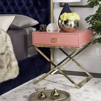 Mallen End Table With Storage Color: Pink