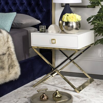 Mallen End Table With Storage Color: White
