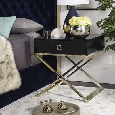 Mallen End Table With Storage Color: Black