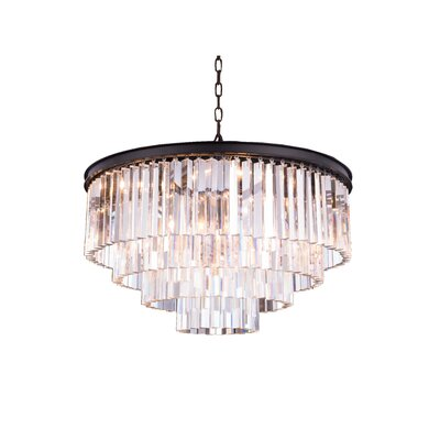Lavinia 8-Light Drum Crystal Pendant Crystal: Crystal (Clear), Finish: Mocha Brown