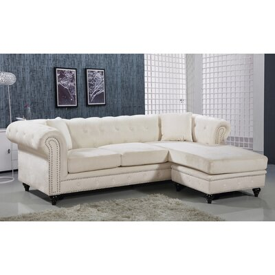 Paulita Reversible Sectional Upholstery: Cream