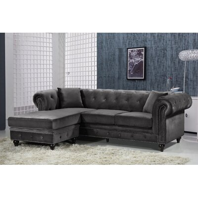 Paulita Reversible Sectional Upholstery: Gray
