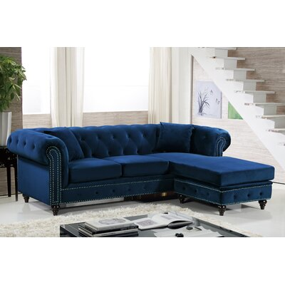 Paulita Reversible Sectional Upholstery: Navy