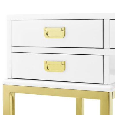 Everly Quinn Gilbery Stainless Steel And Antique Glass Five Drawer Writing Desk