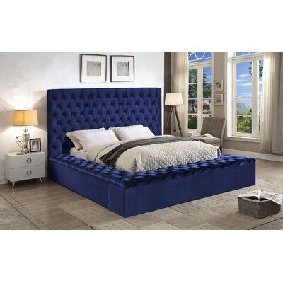 Ruthann Upholstered Storage Platform Bed Size: King, Color: Navy