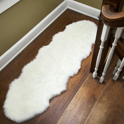 Yaqi Faux Fur White Area Rug