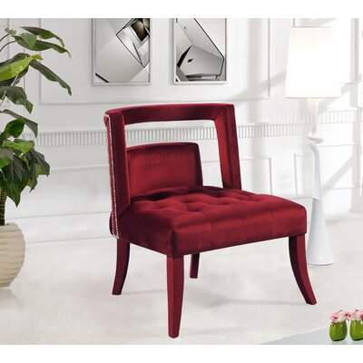 Oak Barrel Chair Upholstery: Burgundy