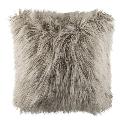 Sandee Faux Flokati Fur Throw Pillow Color: Grey