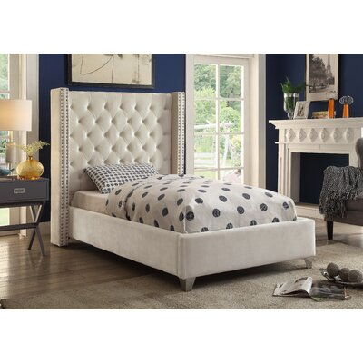 Inverness Upholstered Platform Bed Size: Queen, Color: Cream