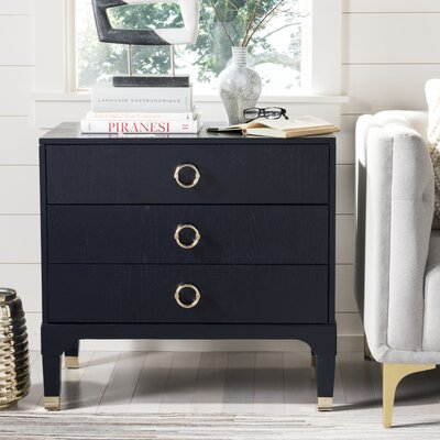 Daniella 3 Drawer Nightstand Color: Navy