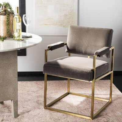 Oge Velvet Armchair Upholstery: Giotto Mouse, Finish: Gold