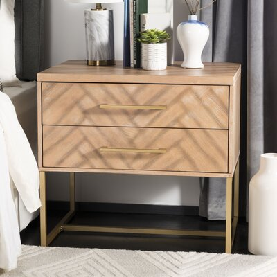 Ally 2 Drawer Nightstand Color: Oak