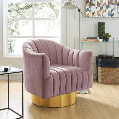 Bekah Swivel Barrel Chair Upholstery: Pink, Finish: Gold