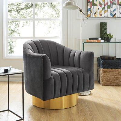 Bekah Swivel Barrel Chair Upholstery: Grey, Finish: Gold