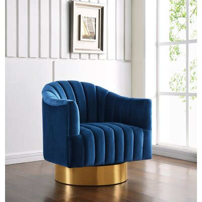Bekah Swivel Barrel Chair Upholstery: Navy, Finish: Gold