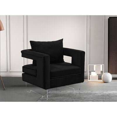 Evergreen Velvet Armchair Upholstery: Black