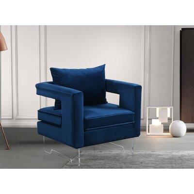 Evergreen Velvet Armchair Upholstery: Navy
