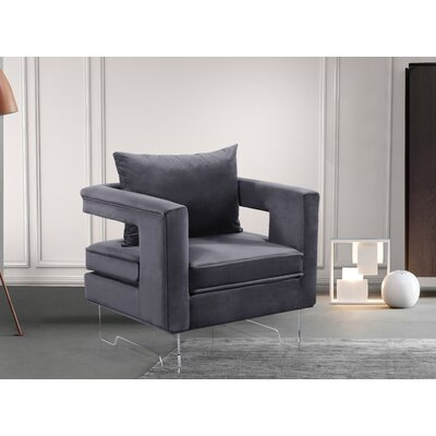 Evergreen Velvet Armchair Upholstery: Grey