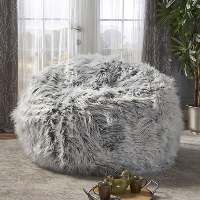 Furry Bean Bag Sofa Upholstery: Silver Gray