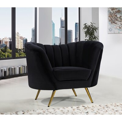 Canh Barrel Chair Upholstery: Black