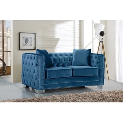Creekside Velvet Chesterfield Loveseat Upholstery: Light Blue