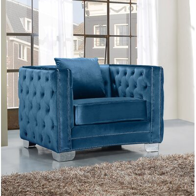 Creekside Velvet Club Chair Upholstery: Light Blue