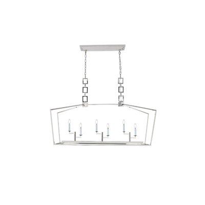 Isoline 6-Light Candle-Style Chandelier Finish: Polished Nickel