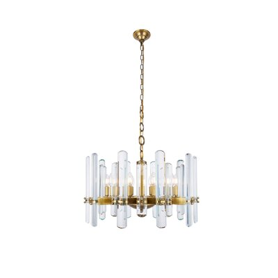 Raelene 10-Light Candle-Style Chandelier Finish: Burnished Brass, Size: 88.97 H x 25 W x 25 D