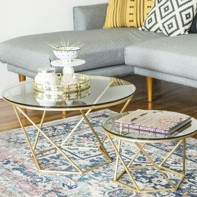 Aman 2 Piece Coffee Table Set Base Color: Gold