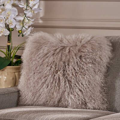 Kingstowne Shaggy Lamb Fur Throw Pillow Color: Light Gray, Size: 16 x 16